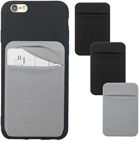 Phone Card Holder Stretchy Lycra Wallet Pocket Credit Card ID Case Pouch Sleeve 3M Adhesive Sticker Compatible with iPhone Samsung Galaxy Android Smartphones 3Pack Black
