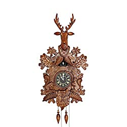 KNDJSPR Large Deer Handcrafted Wood Cuckoo Clock, Solid Wood, Hand-Carved, Solid Deer Head, Time-Keeping Ostrich, Suitable for Home