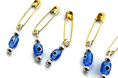 200 Safety Pins With Turkish Evil Eye, Baby Shower Gifts For Guests - Set Of 200 Evil Eye Pins Wedding invitation Packing Supplies, Baby Shower Supplies