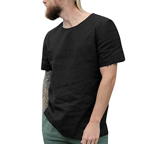 (Benficial Men's Baggy Cotton Linen Solid Short Sleeve O-Neck Retro T Shirts Tops Blouse Black)