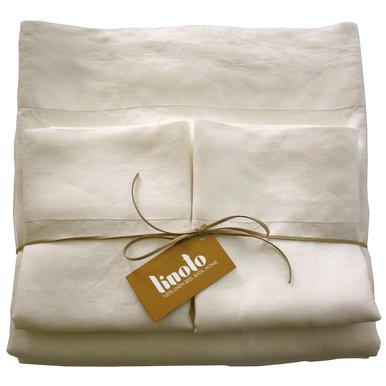 Linoto 100% Linen Bed Sheet Set 4 Piece, Queen, Ivory