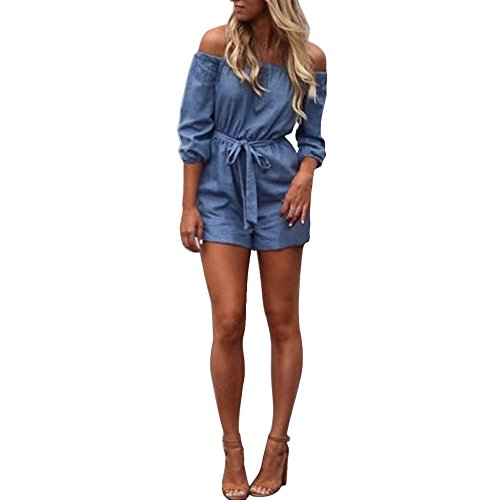 Dressin Off Shoulder Mini Playsuit Ladies 3/4 Sleeve Solid Short Pants Jumpsuit with Belt Blue