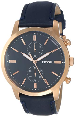 Fossil Men's Townsman Stainless Steel Analog-Quartz Watch with Leather Calfskin Strap, Blue, 15 (Model: FS5436)