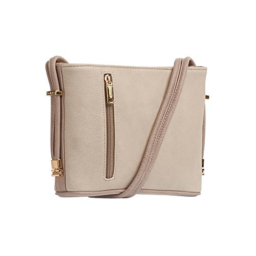 Samoe Style Two Tone Beige with Taupe Trim Crossbody Handbag