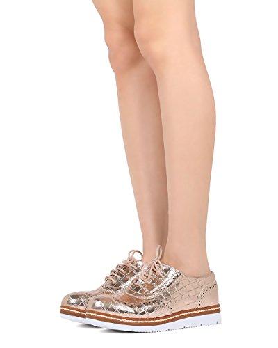 Donne Della Brezza Della Natura Spettatore Serpente - Lavoro, Casual, Trendy - Sneaker Loafer Lace Up - Gg29 Oro Rosa