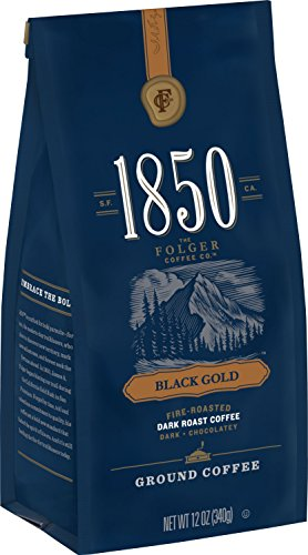 1850 Black Gold, Dark Roast Ground Coffee, 12 Ounces