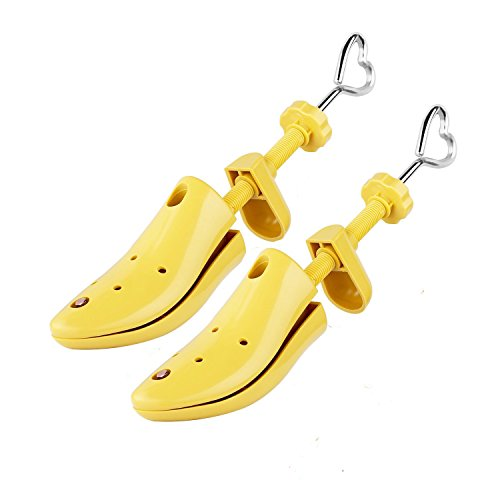 Unisex Pair of Professional 2-Way Shoe Tree Stretcher Adjustable Instep & Length Shoe Shaper for Men and Women (A pair-S:(Men:6-7|Women:5-8), Yellow) ()