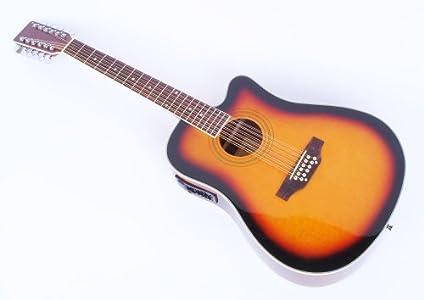 Cherrystone 4260180886139 12 saitige Western-Gitarre mit Tonabnehmer ...