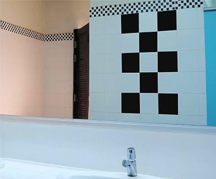 Decalcomania per piastrelle 10 x 20 cm colorate decoro scacchi ...