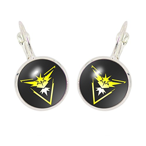 Team Dome - Joyplancraft Pokemon Go Team Mystic,Valor, Instinct Cabochon Dome Earrings Pocket Monster Earrings (Instinct)