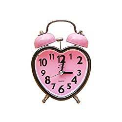 VORCOOL Heart Shape Double Bell Alarm Clock No Ticking Twin Bell Alarm Clock with Nightlight for Kids Girls Bedrooms (Pink)