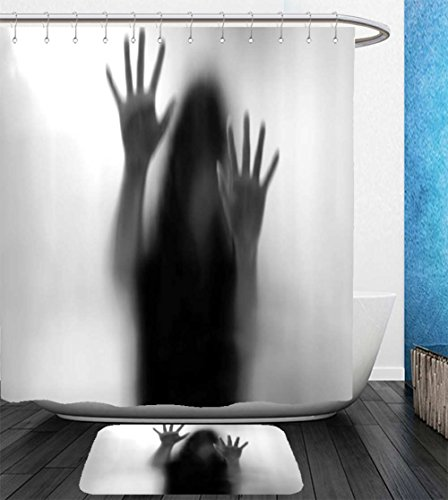 Beshowereb Bath Suit: Showercurtain Bathrug Bathtowel Handtowel Horror House Decor Silhouette of Woman behind the Veil Scared to Death Obscured Paranormal Photo Gray by Beshowereb