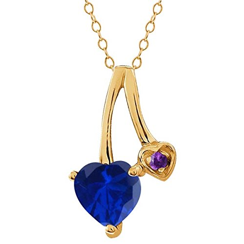 1.08 Ct Blue Simulated Sapphire Purple Amethyst 14K Yellow Gold Pendant - Purple Sapphire Pendant