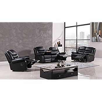 American Eagle Furniture 3 Piece Bayfront Collection Complete Leather Reclining Living Room Sofa Set Black  sc 1 st  Amazon.com & Amazon.com: American Eagle Furniture 3 Piece Bayfront Collection ... islam-shia.org