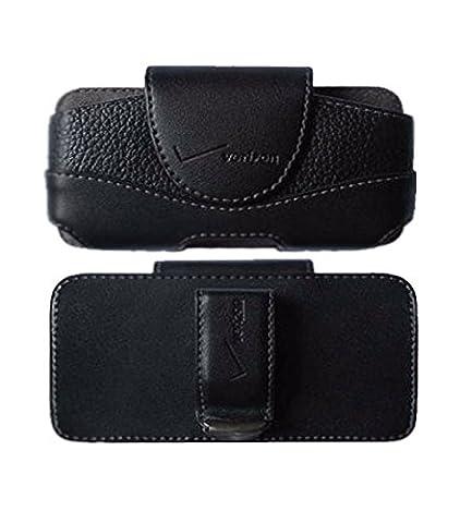 iPhone 4 4s Leather Case Belt Clip Holster Side Cover Pouch OEM Verizon Black [Retail Packaging] (Verizon Vortex Phone Case)