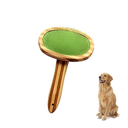 Pet Grooming Brush Slicker Brush with Wood Handle, Flexible pins with plastic tips, Pin Grooming Brush Cats Massage Brush Dog Grooming Supplies Slicker Brush Gentle Massage Brush, for Dogs & Cats - Gentle Slicker Wire Brush