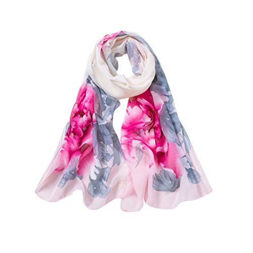 LIULIULIU Fashion Women Peony Printing Long Soft Wrap Scarf Ladies Shawl Scarves Chiffon Long Scarf