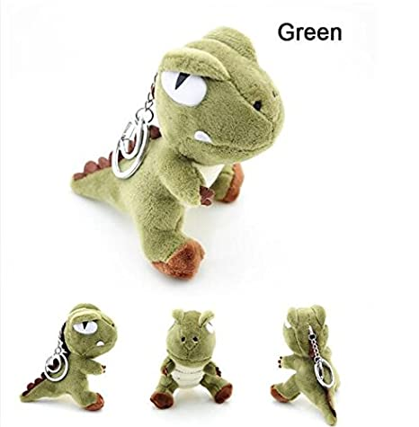 Interesting® Verde lindo 10 cm muñeco de peluche dinosaurio Animal Doll llaveros colgantes bolso unisex titular de la clave
