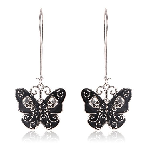 Butterfly Fashion Jewelry - Jesming Long Vintage Butterfly Earrings For Women Fashion Jewelry Antiuqe Silver Plated Black Enameled Gothic Skull Punk Earring (Color: Black)