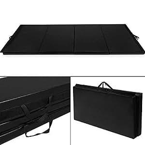 Giantex 4'x10'x2 Gymnastics Mat Folding Panel Thick Gym Fitness Exercise (Black)