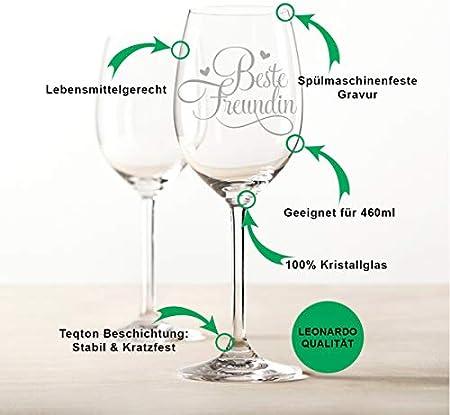 Leonardo Copa de vino con grabado – Mejor amiga – Divertidos regalos para mujeres también como regalo de cumpleaños para mujeres – Copas de vino regalo de agradecimiento