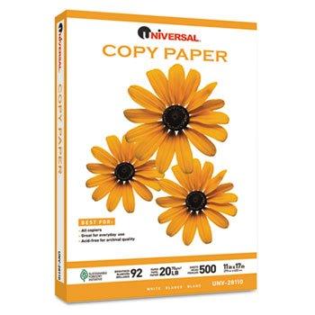 Universal Copy Paper, 92 Brightness, 20lb, 11 x 17, White, 2500 Sheets/Carton