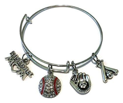 Baseball bracelet, baseball mom bracelet, Sports bracelet, baseball charm, wire bracelet, bangle - Charm Baseball Bracelet
