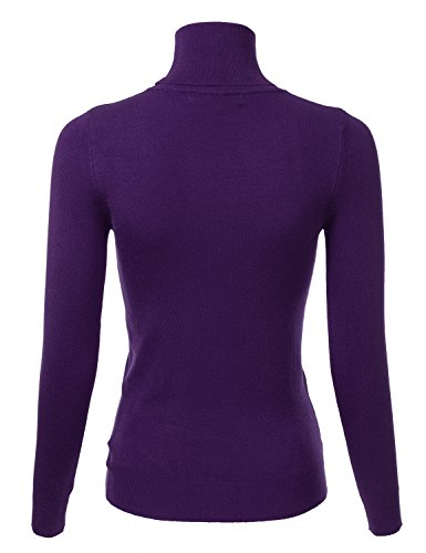 Womens Stretch Knit Long Sleeve Soft Turtleneck Top Pullover Knit Sweater