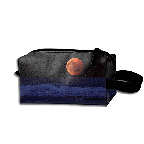 scakoko Full Moon Sea Surf Horizon Makeup Pouch with Top Handle for Men and Women