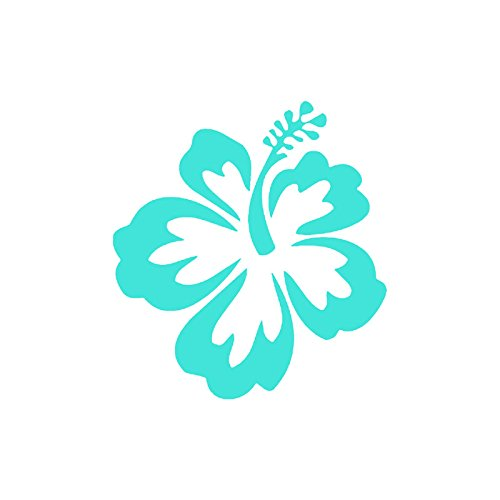 HIBISCUS FLOWER - Hawaiian Vinyl Decal Sticker | Car, Truck, Vans, Walls, SUV, Windows | Light Blue | 5 X 5.5 In | Keen59LBL