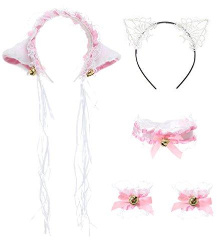 JustinCostume Lace Cat Ears Headband Neckwear Bracelet Cosplay Set, Pink
