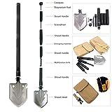 YaeTact Military Portable Folding Shovel, Multifunctional Collapsible Gardening Snow Shovel/Army Camping Shovel with Carrying Pouch, Multifunction Outdoor Survival Spade