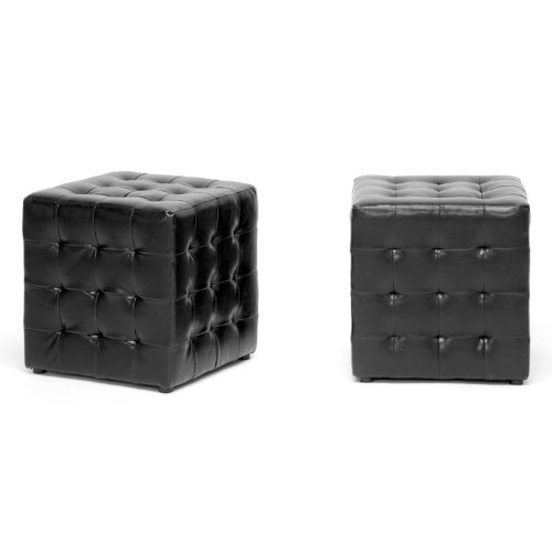 Baxton Studio Siskal Modern Cube Ottoman, Black, Set of 2