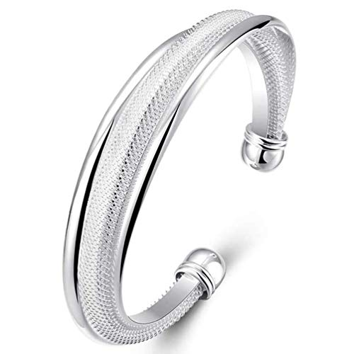(Fashion Women Jewelry Solid 925 Sterling Silver Bangle Bracelet Gift)