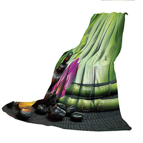 SCOCICI Customized Comfortable Blanket Sofa Bed or Bed 3D Printing,Spa Decor,Orchid Bamboo Stems Chakra Stones Japanese Alternative Feng Shui Elements Therapy Design,Green Black,47.25