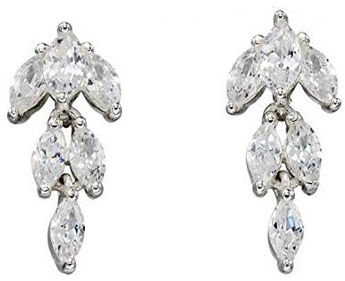 - Elements Silver Womens Cubic Zirconia Marquise Earrings - Silver