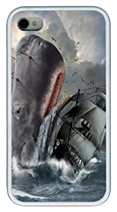 iPhone 4s Case and Cover -Moby Dick TPU Rubber Soft Case Back Cover for iPhone 4/4S White