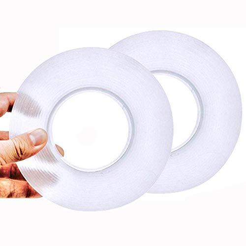 나노 두 배 편들어진 테이프 무거운 의무(2 팩 3M | 9.85FT) 이동식 장착 접착제 젤 그립 테이프 벽을 위한 빨 수 있는 재사용할 수 있는 흔적이 없는 강한 끈끈한 스트립 투명 테이프 카펫 포스터 가정 사무실
