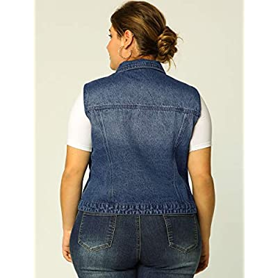 uxcell Women's Plus Size Single Breasted Denim Vest with Two Flap Chest Pockets: Clothing