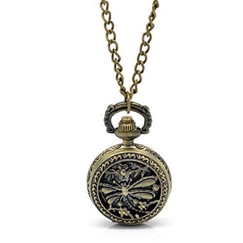 Souarts Antique Bronze Color Hollow Dragonfly Sunflower Pattern Round Quartz Pocket Watch