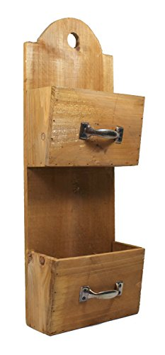 Mail or Letter Holders Double Wood Wall Pocket 16.75 Inches -  VIPSSCI, MC1037