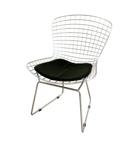 Baxton Studio Tancredo Mesh Side Chair with Leatherette Seat Pad Bertoia Side Chair Seat Pad