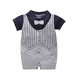GORBAST Newborn Baby Boys' Gentleman Romper Clothes Suit Long Sleeve Jumpsuit Outfit with Bow Tie