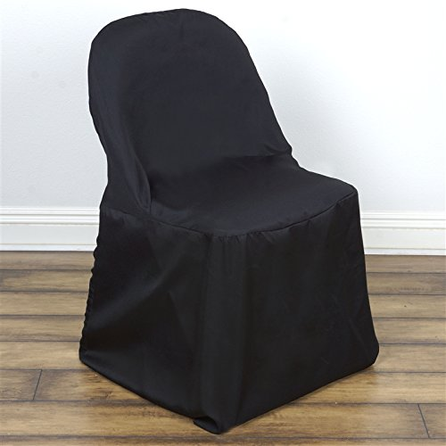 BalsaCircle 50 pcs Black Folding Round Polyester Chair Covers Slipcovers for Wedding Party Reception Decorations