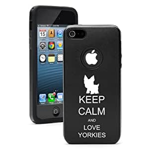 Apple iPhone 5 5s Black 5D4501 Aluminum & Silicone Case Cover Keep Calm and Love Yorkies