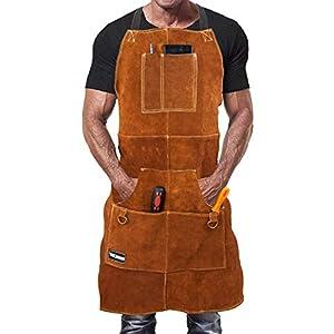 Grembiule Saldatore Professionale in Pelle con 6 Tasche per Utensili. Grembiule Uomo da Lavoro di Cuoio Molto Resistente… 41dVLKIAsFL. SS300