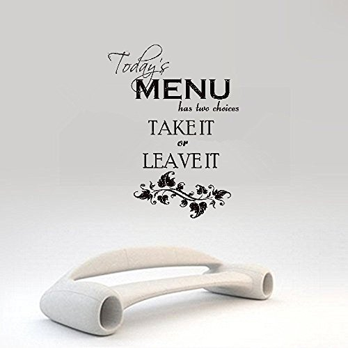 vlksjv Wall Art Decor Decals Removable Mural Today's Menu has Two Choice take it or Leave it Kitchen for The Living Room Home Decor -