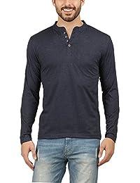 Men's Fullsleeve Navymelange Henley Tshirt
