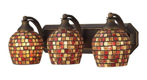 Elk 570-3B-MLT 3-Light Vanity In Aged Bronze and Multi Mosaic Glass (Mlt Vanity Vanity Light)