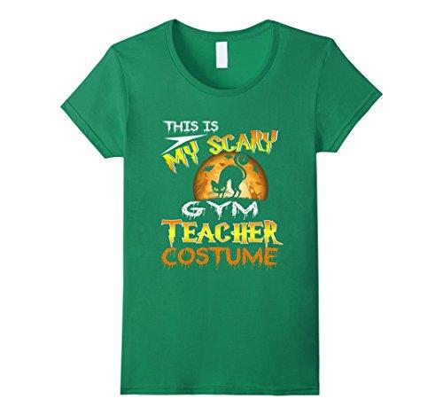 Womens My Scary Gym Teacher Costume Shirt Cat Moon Halloween Medium Kelly Green